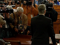 Photographer David Burdett with his large-format, wooden camera was the real hero of today's impeachment hearings