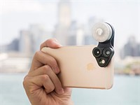 The RevolCam adds three accessory lenses and an adjustable light to any smartphone camera