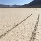 The Racetrack Playa in Death Valley National Park marred by vandals
