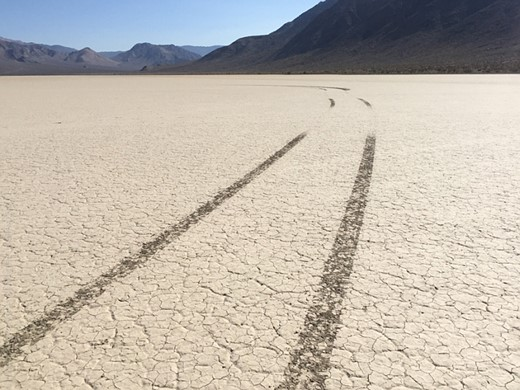 The Racetrack Playa in Death Valley National Park marred by vandals 1