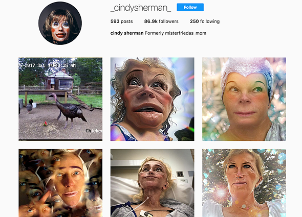 Renowned self-portrait photographer Cindy Sherman goes public on Instagram 1