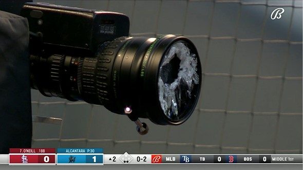 Video: Major League Baseball batter shatters camera lens with a foul ball