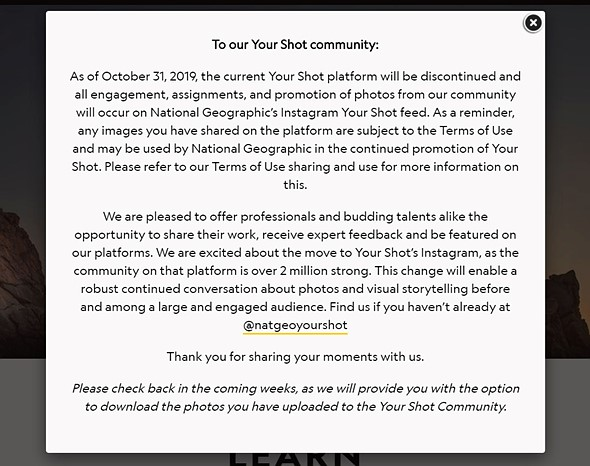 National Geographic will shutter its 'Your Shot' photography