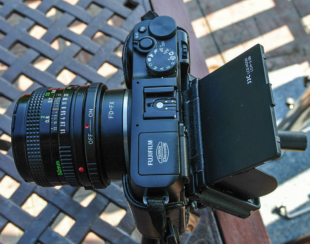 Fujifilm X-A1 with Metabones FD-FX Speed Booster and Canon FD 50mm