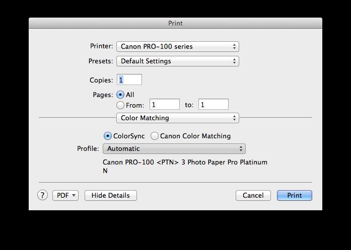 Help on Pixma Pro 100 with Colormunki Photo on Mac: Printers and
