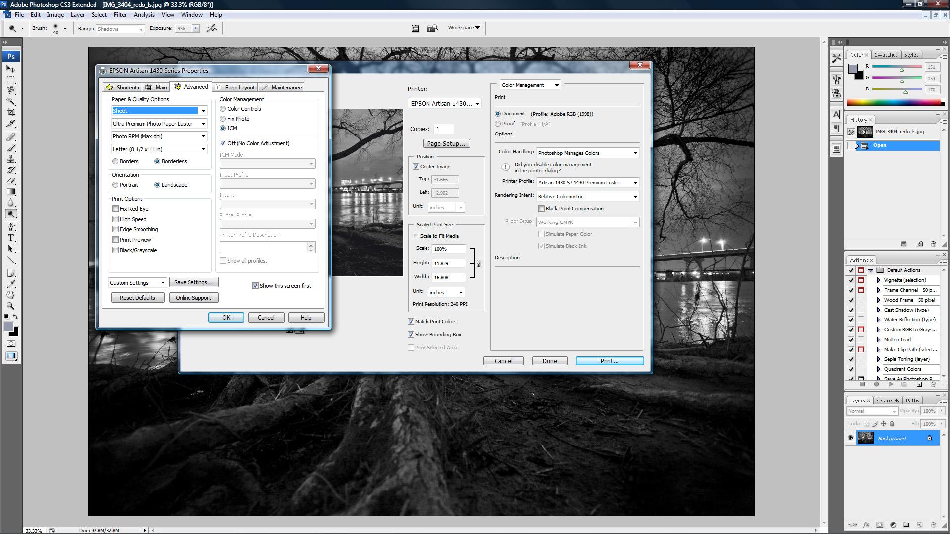 Epson Artisan 1430 Prints Too Dark - Help!: Printers and