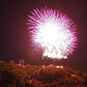 Live Composite Em10 and fireworks