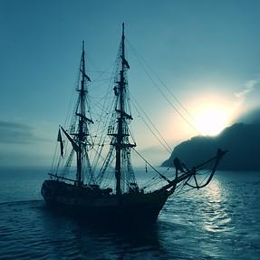 Sailing ship, Cornwall UK
