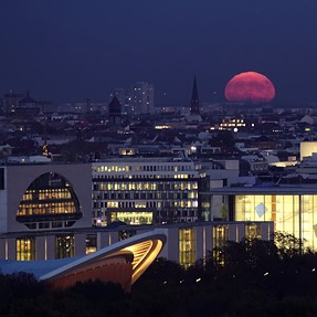 Supermoon over the city