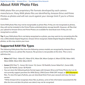 Anybody's ORF files being treated as Photos by Amazon Drive