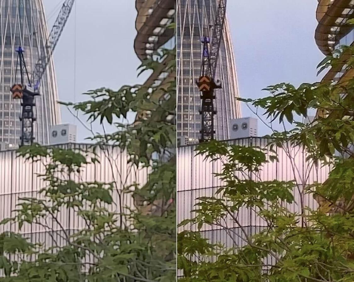 Na imagem, pode-se ver a diferença entre o zoom digital (esquerda) e o óptico (direita) - note a distorção e a perda da nitidez e qualidade da imagem