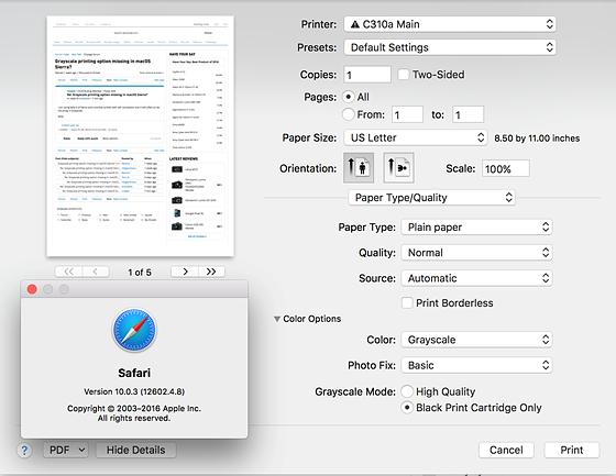 Grayscale printing option missing in macOS Sierra?: Mac Talk