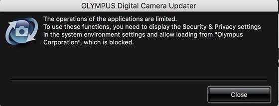 how to unblock olympus firmware update: Mac Talk Forum