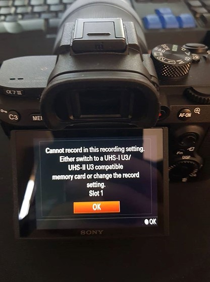Sony a7r iii - Cannot Record in this Recording Setting: Sony