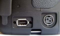 Firewire and AC connectors (click for larger image)